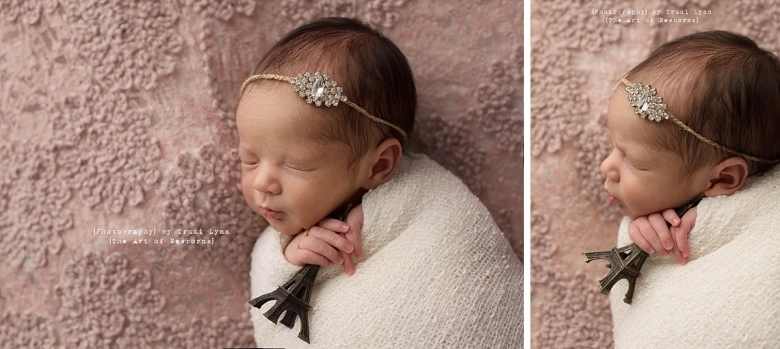 newborn baby girl holding an Eiffel tower on pink lace